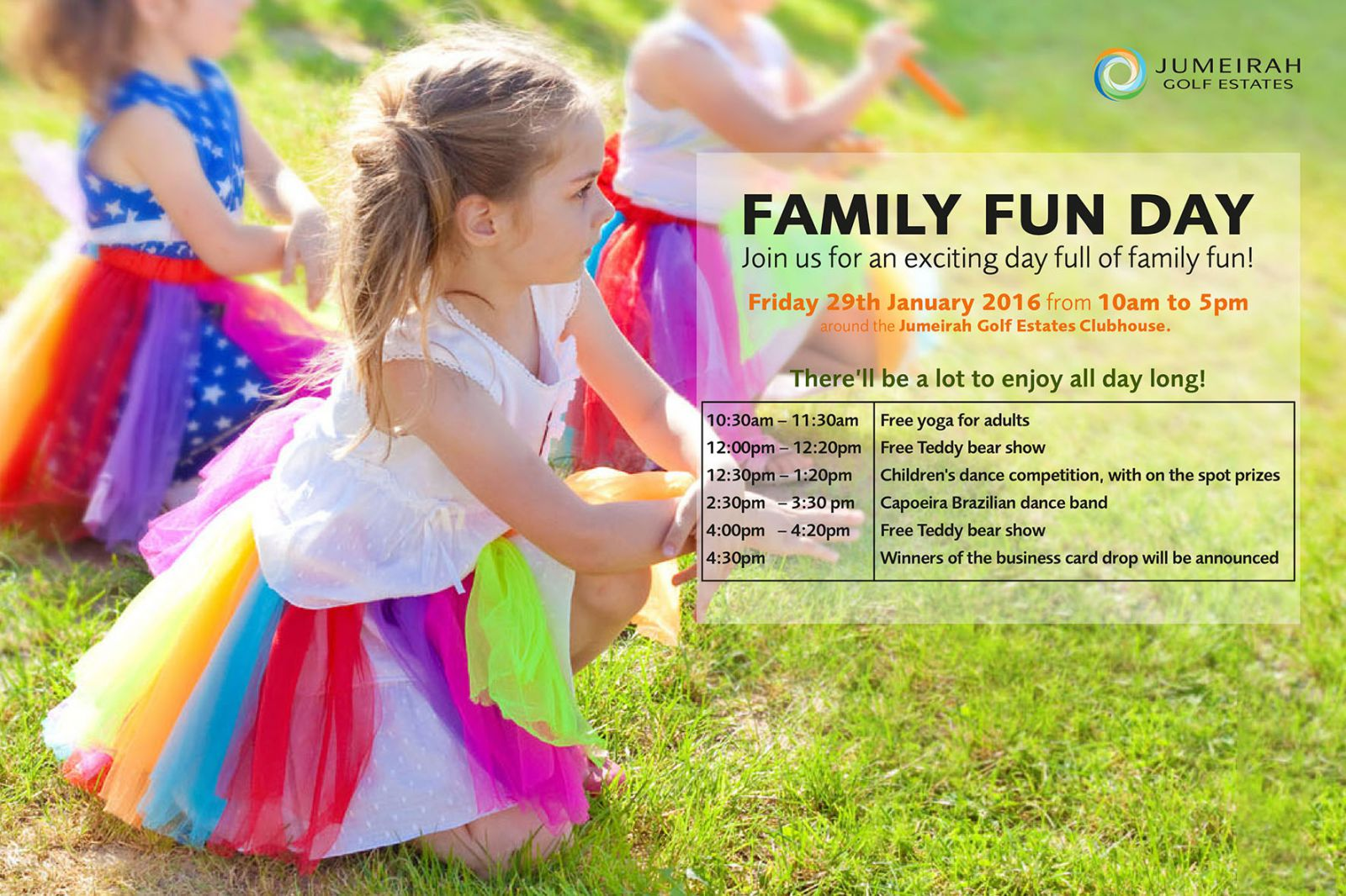 Jumeirah Golf Estates is happy to announce JGE Family Fun Day! An exciting full day for you, your ki